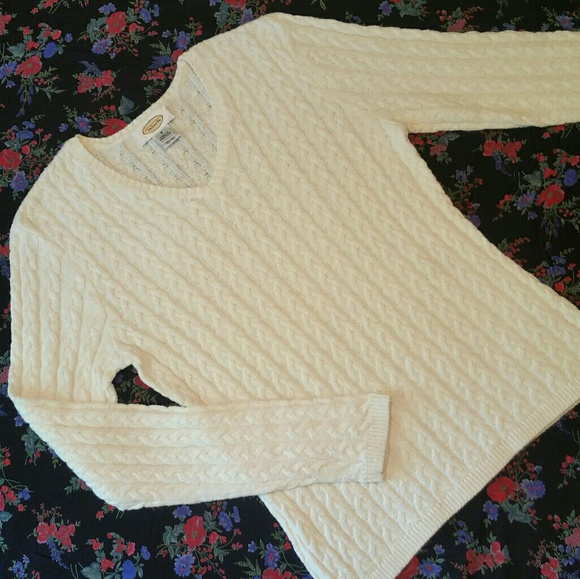 Talbots Sweaters - Talbot's Cable-Knit Sweater Winter White, Sz S